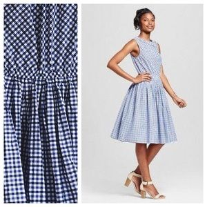 Merona blue gingham xavier dress, size M