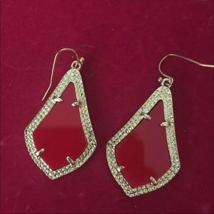 Red and gold earrings kendra style