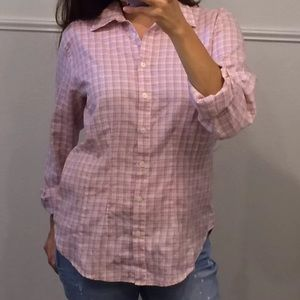 Van Heiden plaid buttonfront top small