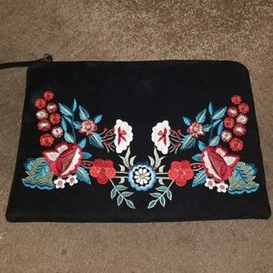 Forever 21 floral embroidered suede clutch