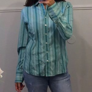 Ann taylor striped button front blouse top medium