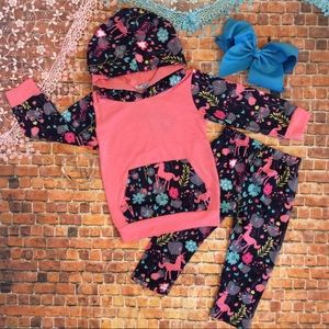 Other - Boutique Girls 2pc Unicorn Hoodie Track Suit