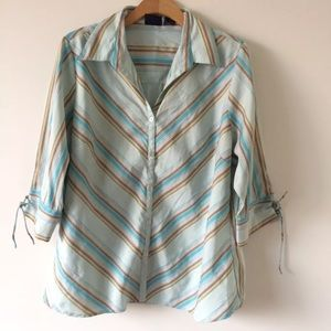 Cotton express striped stretch blouse top plus 2X