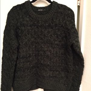 New Dark Gray Obey Cable Neck Sweater. Medium.