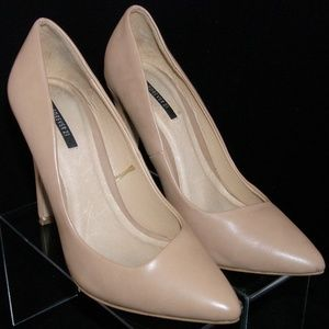 Forever 21 pointed toe faux patent nude pumps 7
