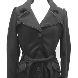 Miss London cotton blend button black coat size L