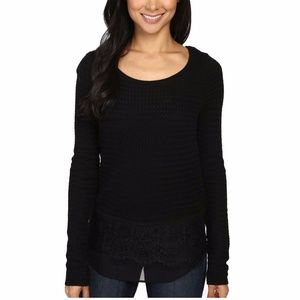 Lucky Brand Lace Mix Contrast Sweater Black XS