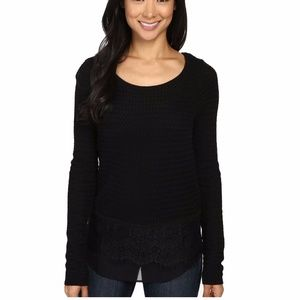 Lucky Brand Lace Mix Contrast Sweater Black Small