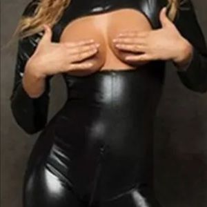 Black vinyl patent leather bodysuit stocking club