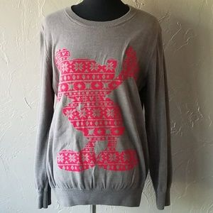 Disney Gray & Red Snowflake Mickey Mouse Sweater