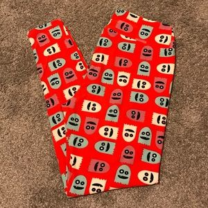 LuLaRoe TC Halloween ghost red leggings