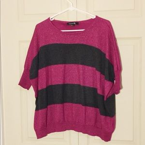 Hot pink and charcoal Sweater