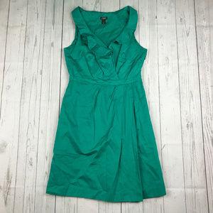 J Crew green ruffle sleeveless faux wrap dress