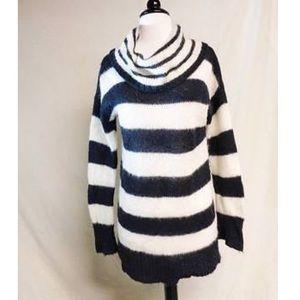 Ann Taylor Loft Striped Cowl Neck Sweater, Medium