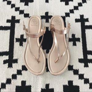 Tory Burch Metallic Rose Gold Flat Sandals