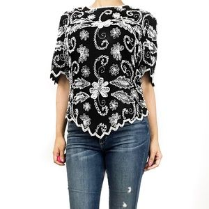 Intake black and white beaded top