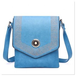 Blue Greek Key Crossbody Purse
