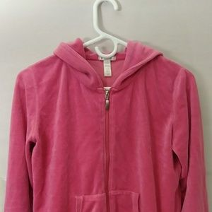 Pink Hoodie Jacket With Zipper and Long Sleeves