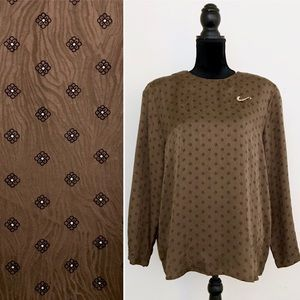 Vintage 80s Brown Pure Silk Floral Oversized Top
