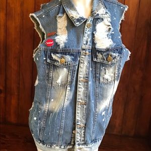 Shredded jean vest with pins  XL