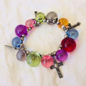 Multi-colored bobbly bracelet bangle