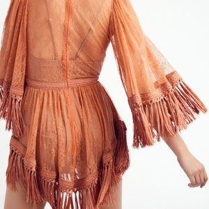 Fringe dress romper
