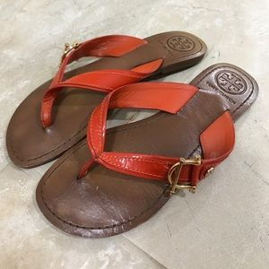 Coral / dark orange Tory Burch sandals