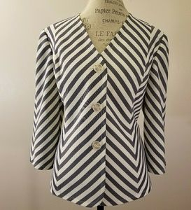Evan Picone Navy/White Chevron jacket