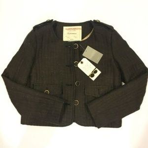 NEW Anthropologie Military Jacket Blazer Tweed