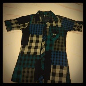 Blue teal gray black plaid shirt