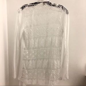 Forever 21 White Linen Lace Back Drape Cardigan