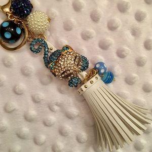 NEW! Blue Rhinestone CAT & Cream Tassel Keychain!