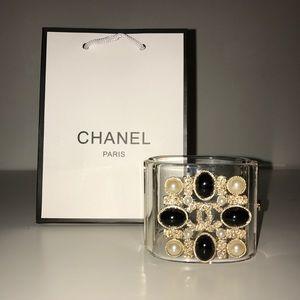 Chanel clear vintage gold cuff bracelet bangles