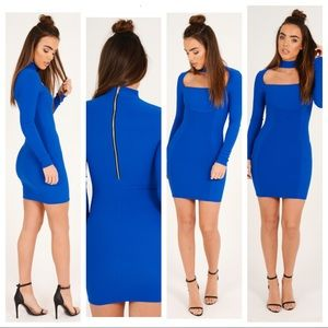 BNWT royal blue bodycon choker dress