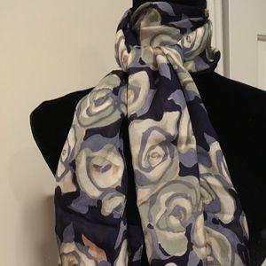 Zazou blues & Grays long silky scarf