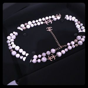 Chanel Marvel gold long double pearl necklace