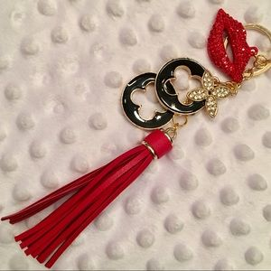 NEW! Black Enamel Clovers & Red Lips w/Red Tassel!