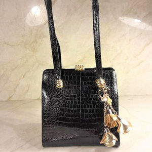 Leather Alligator Purse with Purse Charms