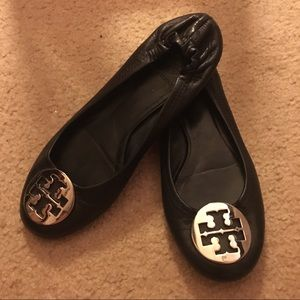 Tory Butch Black Reva Flats with Silver