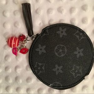 NEW!Black Embellished Round Coin Purse & Keychain!