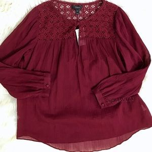 J. Crew • Burgundy Embroidered Gauze Peasant Top