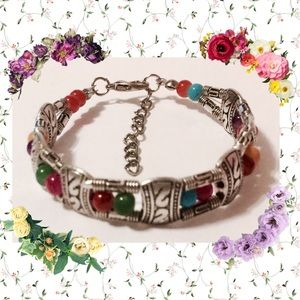 💐NEW Tibetan Silver Multi-color Bead Bracelet
