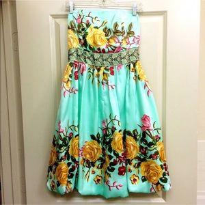 Strapless Floral Cocktail Dress