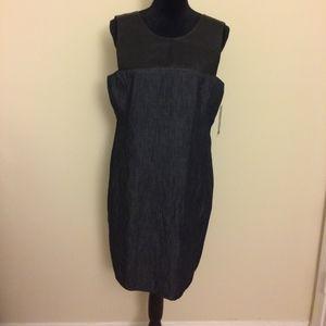 Lauren Ralph Lauren Blue Faux-Leather Shift Dress