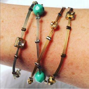 Silver/Gold Multi-stone Wire Bracelet Set