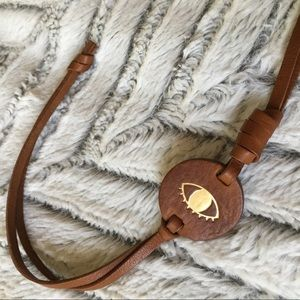 Madewell Leather Graphic Eye Bag Tag NWOT