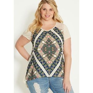 Floral Patterned Chiffon Front Tee