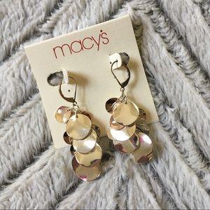 Macy's Silvertone Dangle Disk Earrings NWT