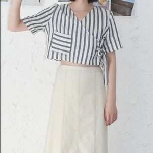 Linen striped crop top