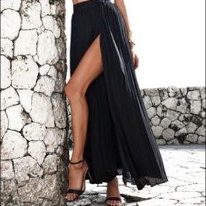 Black Maxi High Slit Skirt